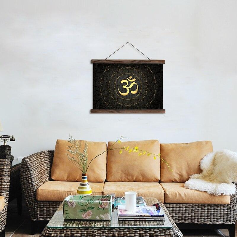 Rollo de pintura HD impreso imágenes de símbolos hindúes y carteles lienzo colgante cuadros obras de arte para la decoración de la sala de estar