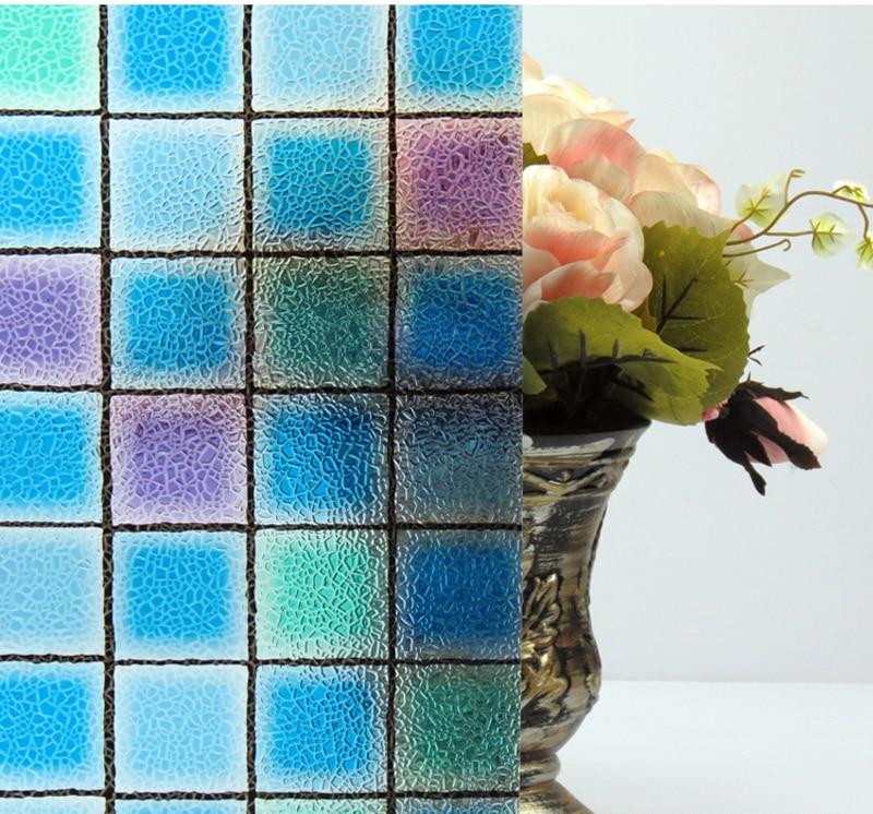 45 cm 3D sin pegamento película de vidrio estático cuadrados de colores casa puerta corredera ventana rejillas papel colorido más grueso creativo DIY película