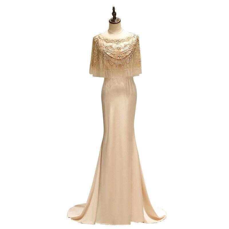 De alta calidad de cuello redondo borlas con cuentas de cola de sirena vestidos de noche largo Abendkleider Vestido de noche Vestido de fiesta 63689