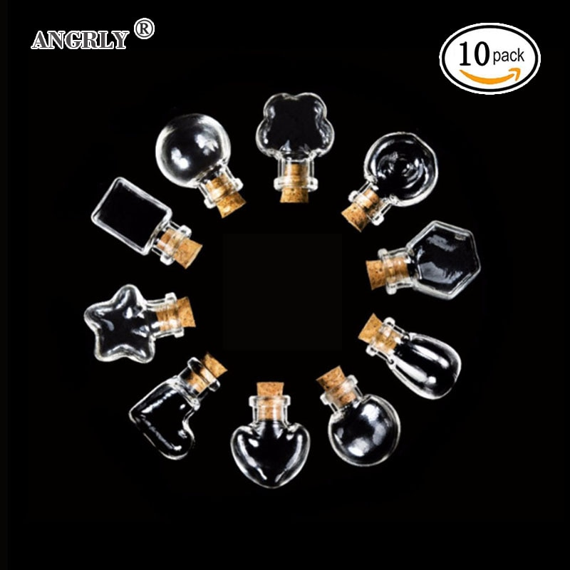 10 шт форма лампы Мини стеклянные бутылки банки пробковые Wish Note Ремесло Мини кулон пустые крошечные ясные Письма желаний стеклянные бутылки ...