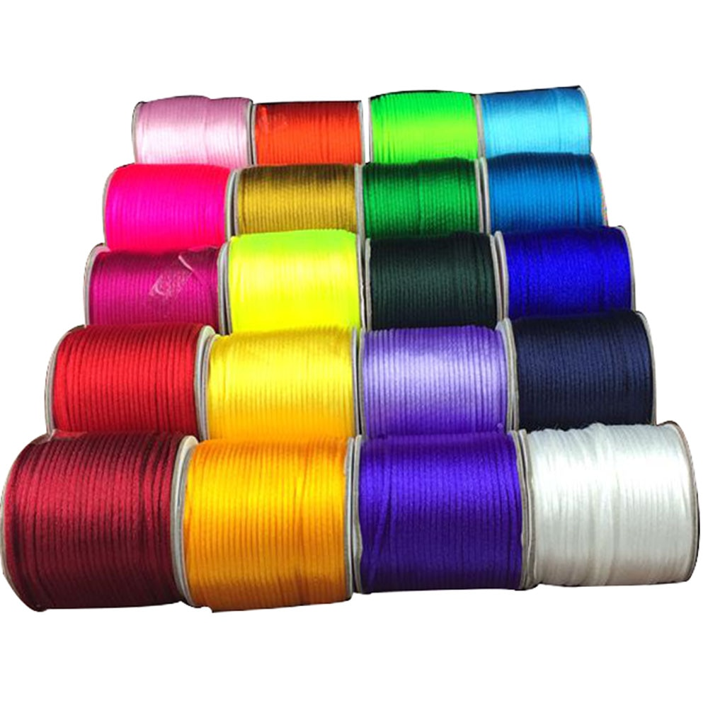 2mm Rattail Stain Nylon Cord Jewelry Macrame Rope Bracelet Beading Cords Accessories 1200m=60M X 20Rolls-44 colors for option
