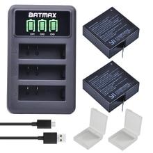 2 pièces 1400mAh 3.85V batterie AZ16-1 + LED USB 3 fentes chargeur pour Xiao mi Yi 2 4K batterie dorigine Xiao mi Yi Lite caméras daction