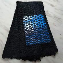 الأفريقي الدانتيل النسيج الساخن بيع شبكة جديد وصول عادي أسود اللون دانتيل بارزة إفريقية جبر أقمشة الدانتيل! PLF42005