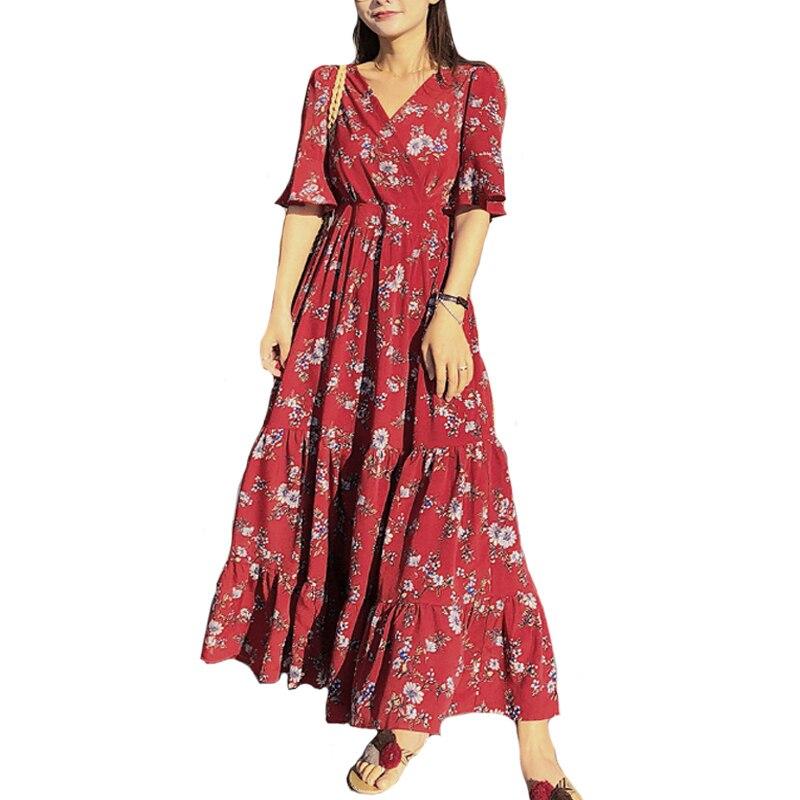 Vestido de verano con estampado Floral para mujeres coreanas de manga corta de ladrillo rojo de flores Vestidos largos de gasa para mujer Vestidos dulces S-XL