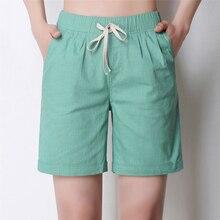 Femmes été Orange armée vert kaki Shorts élastique taille haute Femme lin décontracté ample avec ceinture grande taille S-4XL Shorts