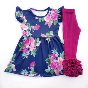 Fashion Baby Girls Floral Printed Dress Boutique Girls Outfits Wholesale Children's Clothing Sets Milksilk Top with Ruffle Pants