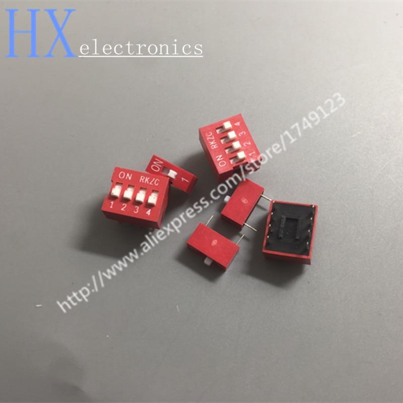 Бесплатная доставка 10 шт. DIP переключатель красный 2,54 мм шаг 2 ряда DIP тумблеры 1p 2p 3p 4p 5p 6p 8p 9p 10p