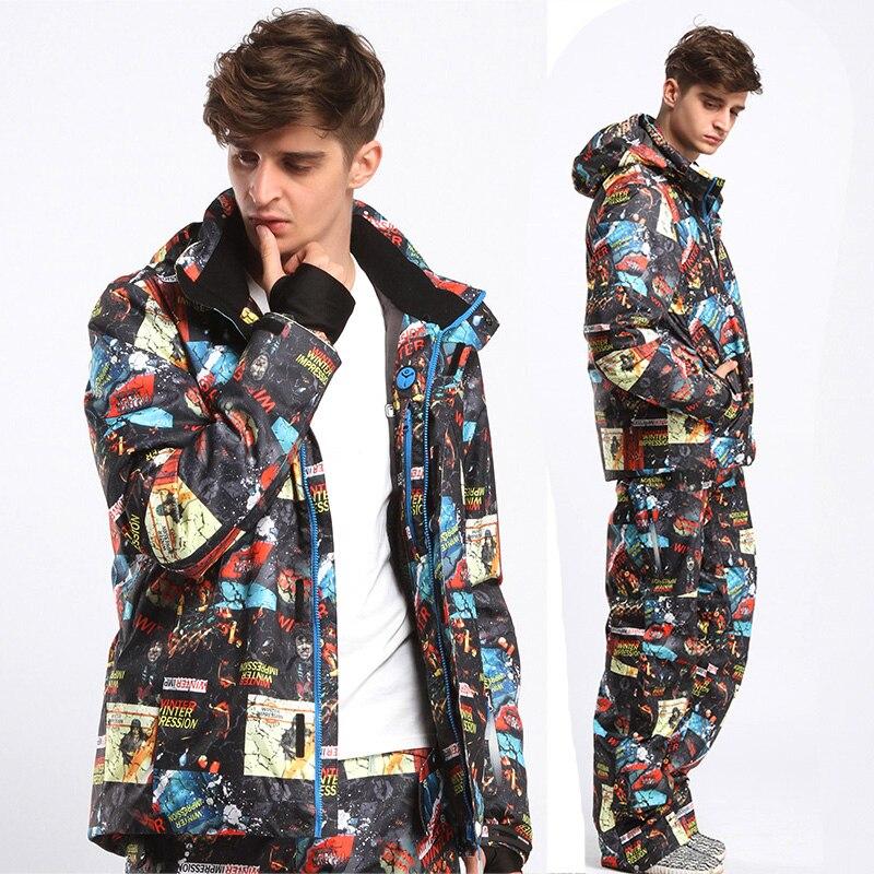 Free freight Winter Impression NEW Men Warm Clothing Skiing Snowboard Jacket+Pants Suit Windproof Waterproof Winter Wear