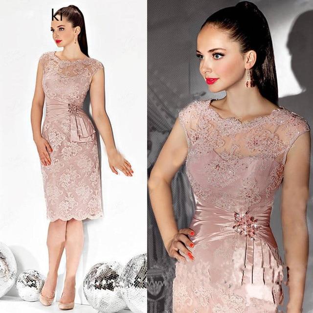 Różowe sukienki dla matki panny młodej płaszcza koronkowa z krótkimi rękawkami kryształy krótka suknia ślubna sukienki dla mamy na ślub