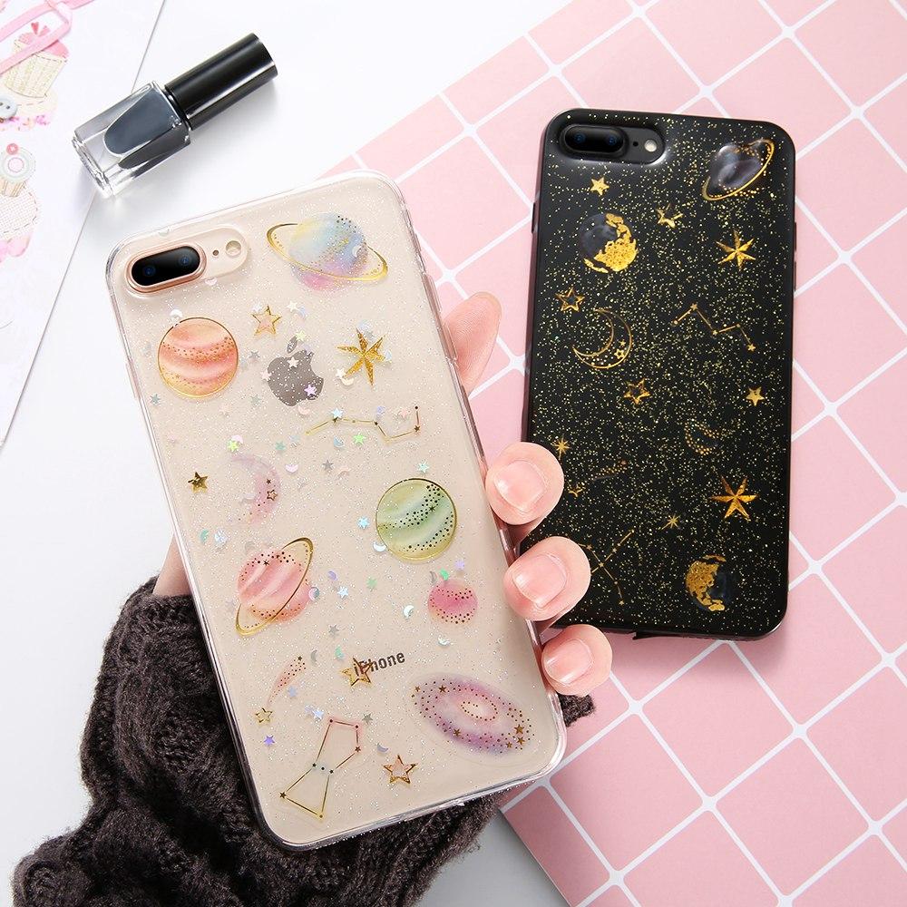 KISSCASE brillo ostentoso carcasa estampada para iPhone 7 6X8 s 6 Plus suave silicona Luna lentejuelas fundas traseras para iPhone 5 S 5 SE Conque