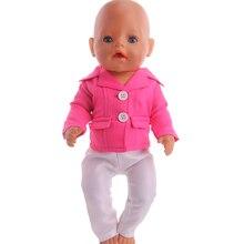 Аксессуары для кукольной одежды милая розовая форма + белые брюки, подходящие для кукольной одежды 43 см, лучший подарок на день рождения, кук...