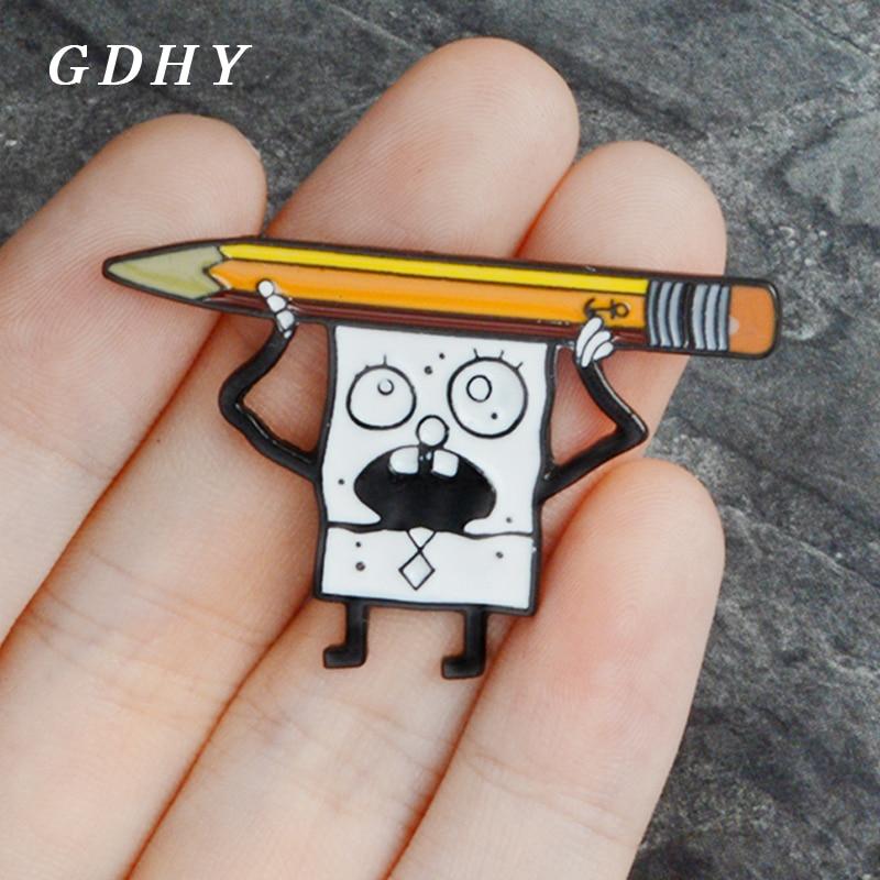 GDHY dibujo de Bob Esponja y broches de lápiz lindo Doodle Bob Esponja esmalte Pins mochila bolsa ropa botón insignia para niños regalos