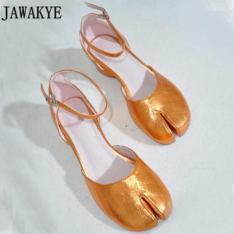 Nova brilhante Dividir cinta toe fivela sapatos de couro genuíno mulher de salto baixo das mulheres sapatos rasos sandálias vestido de ballet plana para as meninas