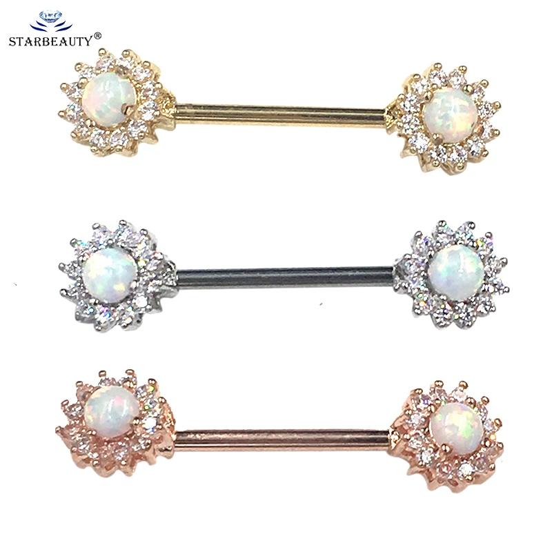 2 Teile/los Opal Nippel Piercing Schmuck 1,6*16mm 316L Chirurgenstahl Feuer Opal Nippelring Piercing Barbells Piercing schmuck