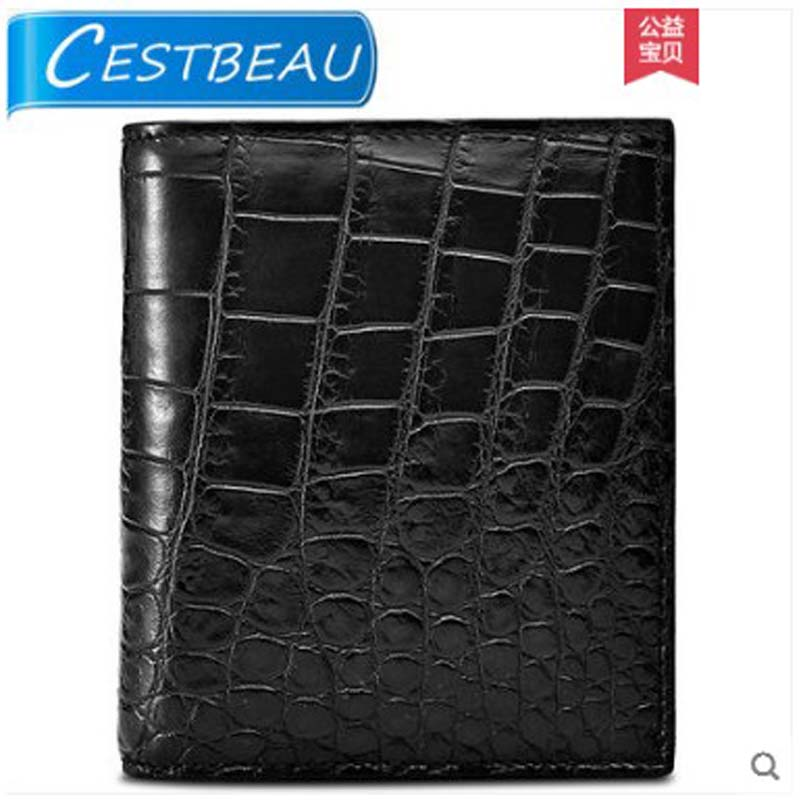 Cestbeau inside and outside  without splicing whole crocodile leather belly short wallet for men
