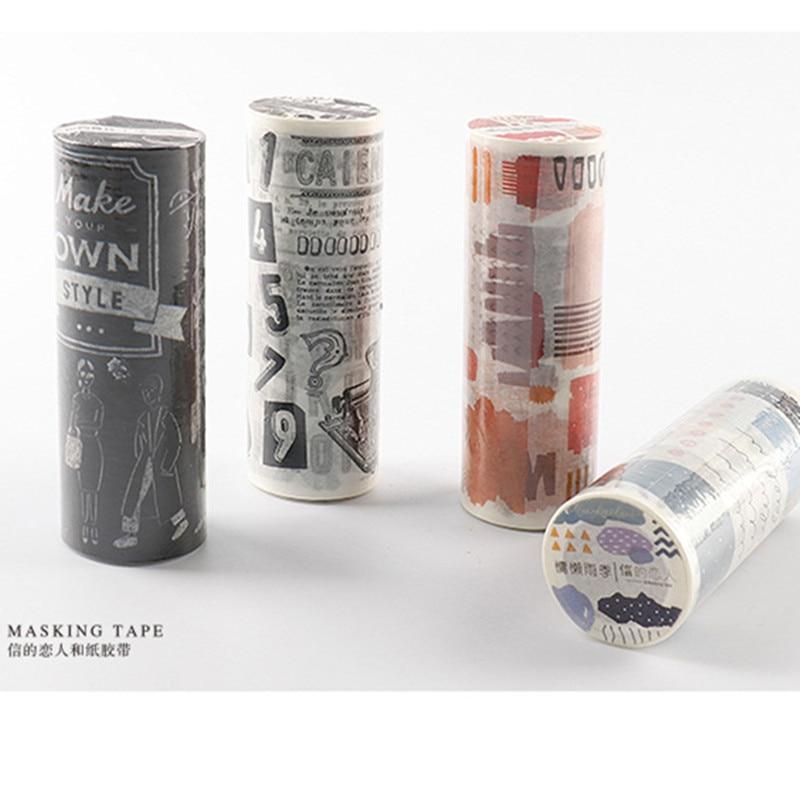כרטיס מאהב קולאז עיצובים 10 cm נייר מיסוך קלטת רעיונות קישוט מכתבים washi קלטת