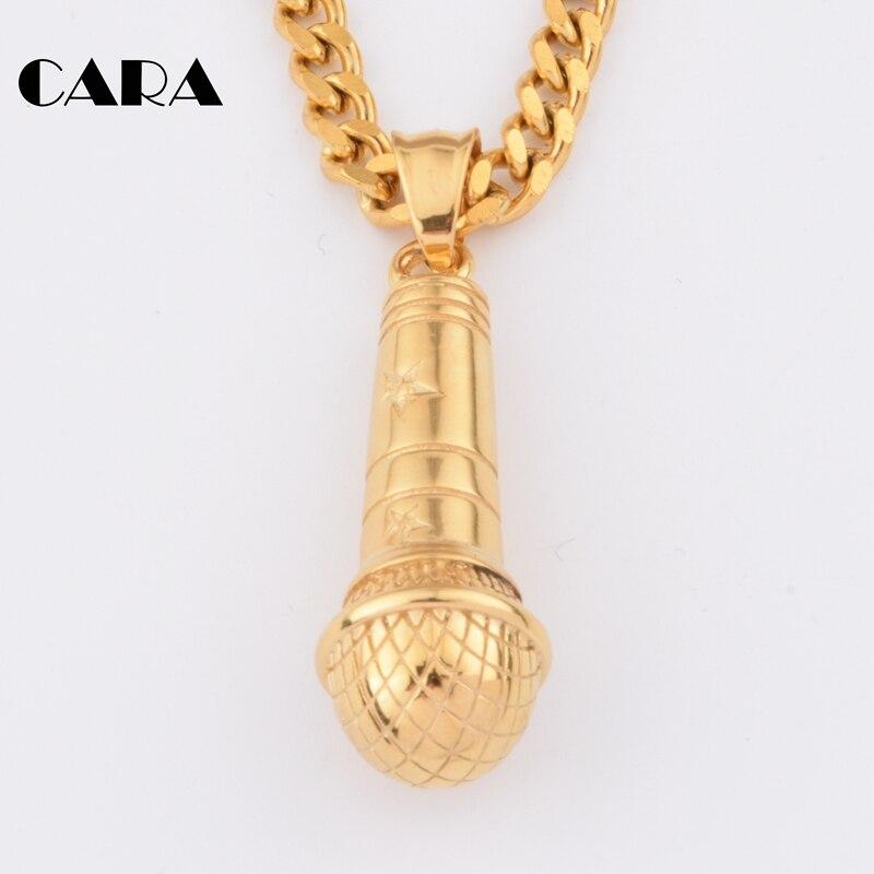2019 nueva cadena Hip Hop Rock Punk micrófono gargantillas collar y colgante mujeres/hombres Acero inoxidable color oro joyería CAGF0052