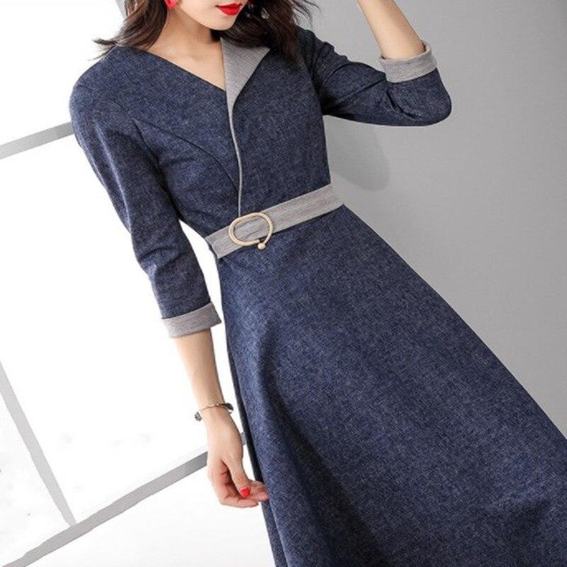 Spring New 2019 Women Fashion Denim Dress Women Three Quarter Sleeve Midi Dresses OL Work Wear A-line Dress Navy Blue RE2248