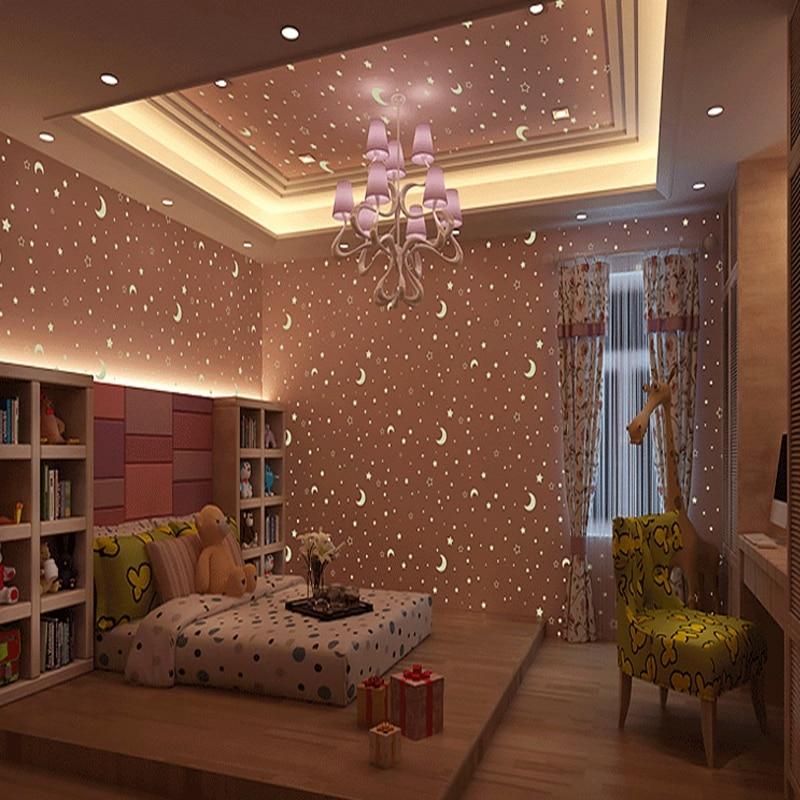 Обои Youman детская комната светящиеся обои в рулоне звезды луна для мальчиков и девочек детская комната спальня потолочный флуоресцентный