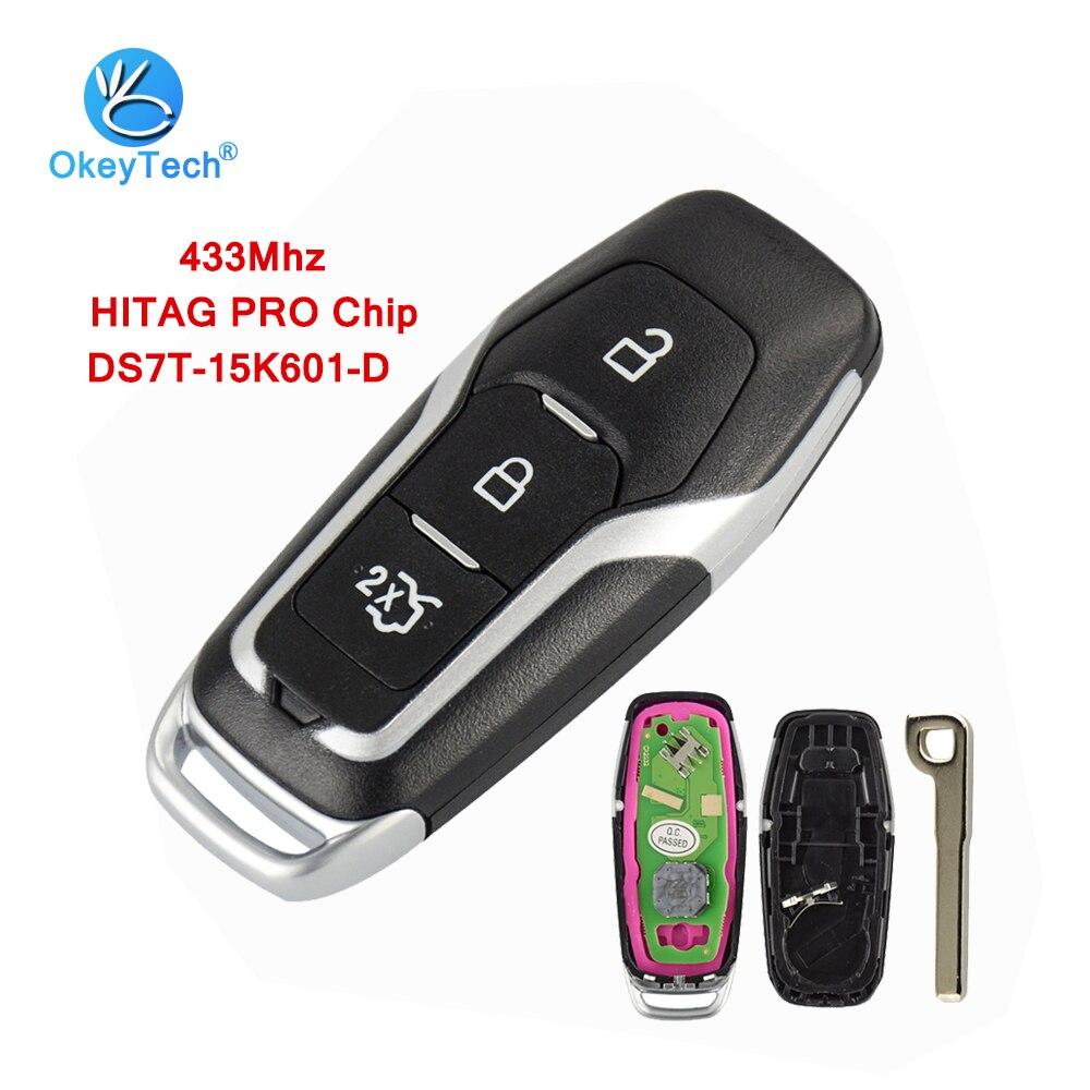 OkeyTech 433mhz HITAG PRO Chip 3 botón inteligente llave de auto y tarjeta llave de Control remoto para Ford Mondeo Ford S-Max Galaxy 2014-2018