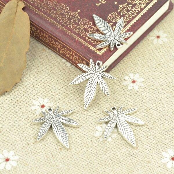 15 pcs Tibetano liga de Prata Banhado A árvore folha Encantos Pingentes para Fazer Jóias DIY Handmade Craft 25*22mm 2178
