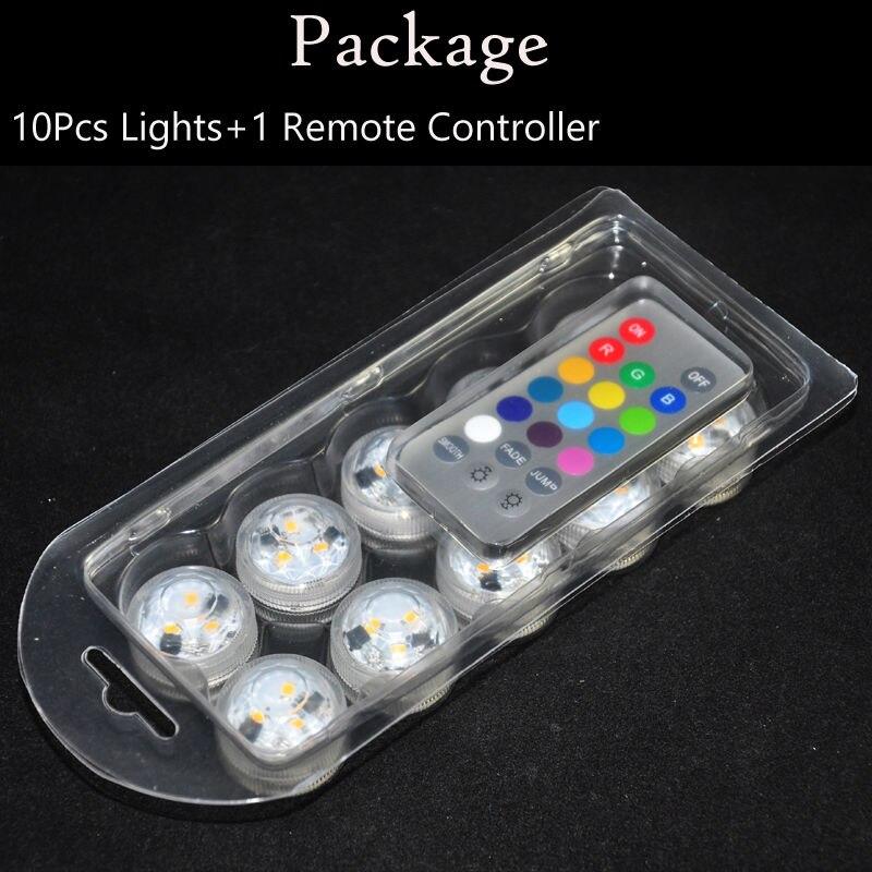 Mini luz LED con forma de vela pequeña sumergible que cambia de Color blanco, blanco cálido, RGB con control remoto para decoración de centros de mesa de boda