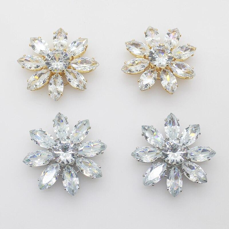 Conjunto de 2 unidades, botones grandes de diamante de 33mm dorados y Fondo plateado para decoración de ropa, broche de lujo con collar de cristal y aguja, decoración