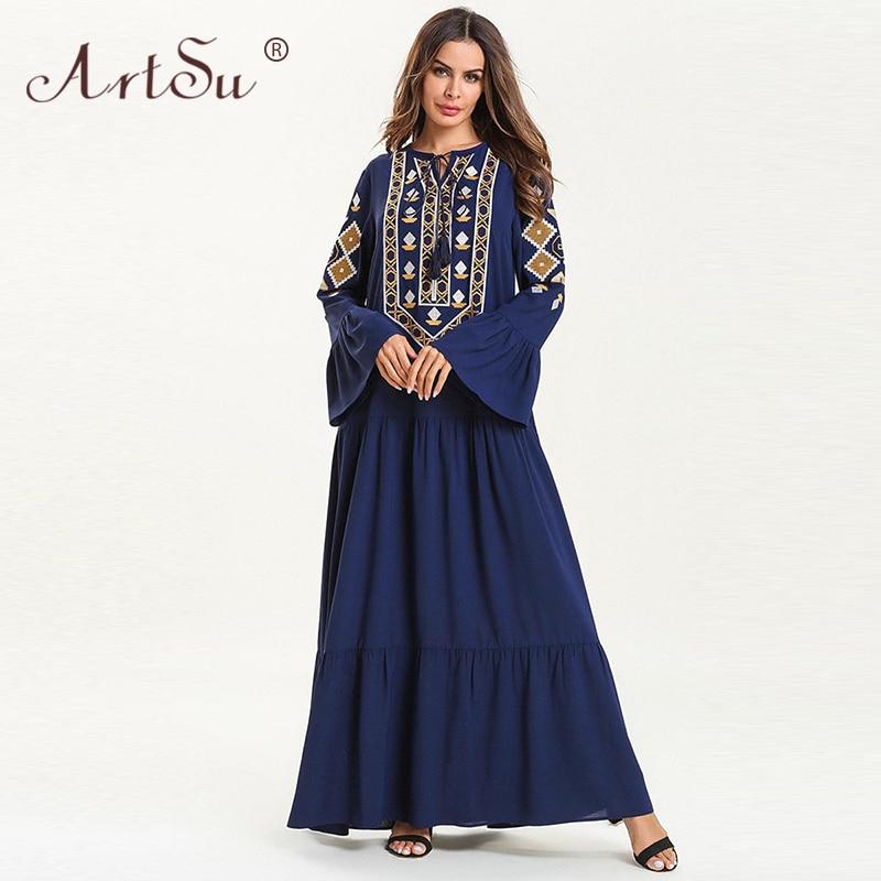 ArtSu Tie Neck Tassel Pleated Robe Femme Vintage Ethnic Geometric Embroidery Maxi Dress Women Long Sleeve Loose Plus Size Dress