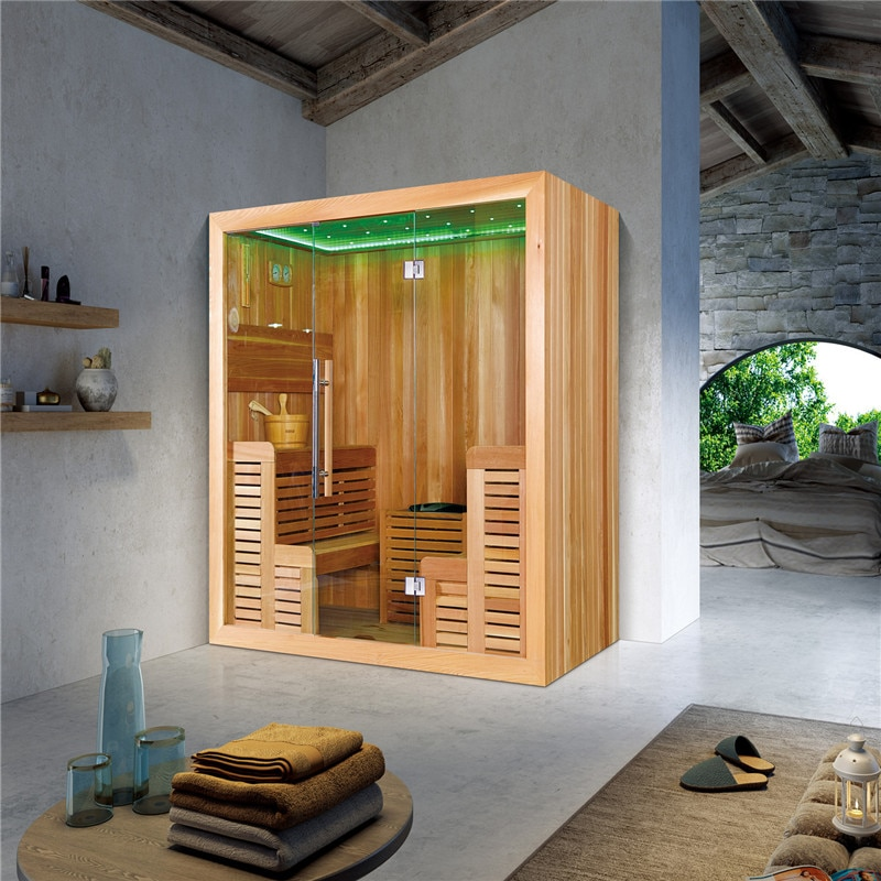 Sala de sauna portátil de China/sauna al aire libre/casa de sauna M-6043 de madera de cedro canadiense