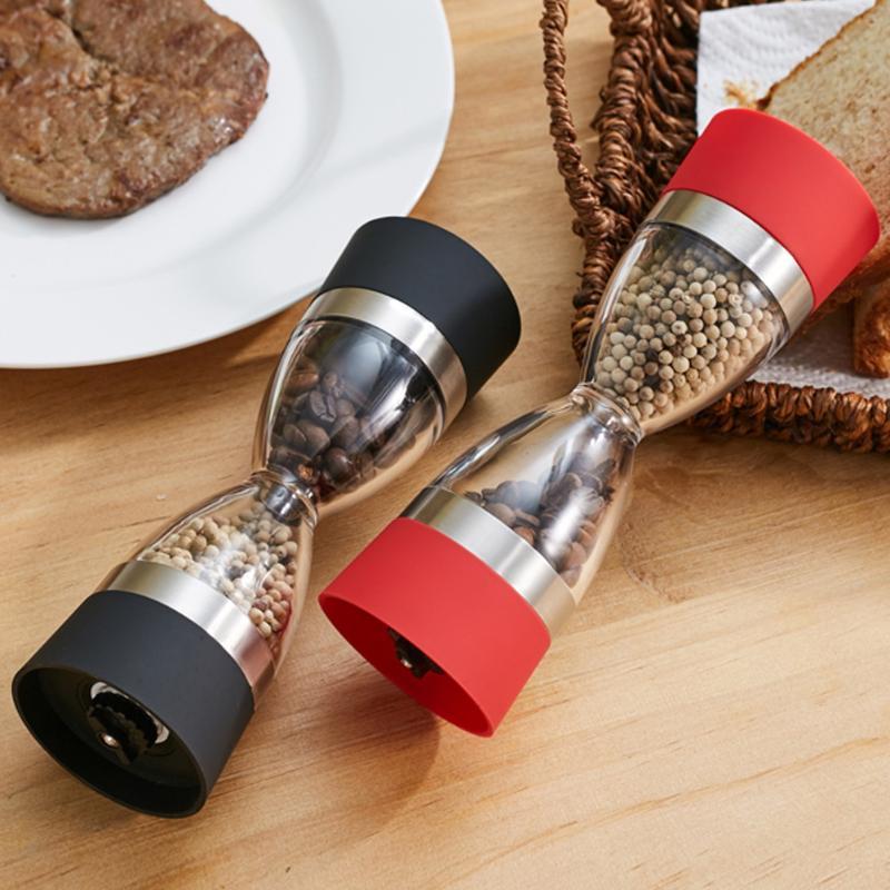 Molinillo de pimienta y sal Manual, molinillo de cocina portátil de cerámica 2 en 1