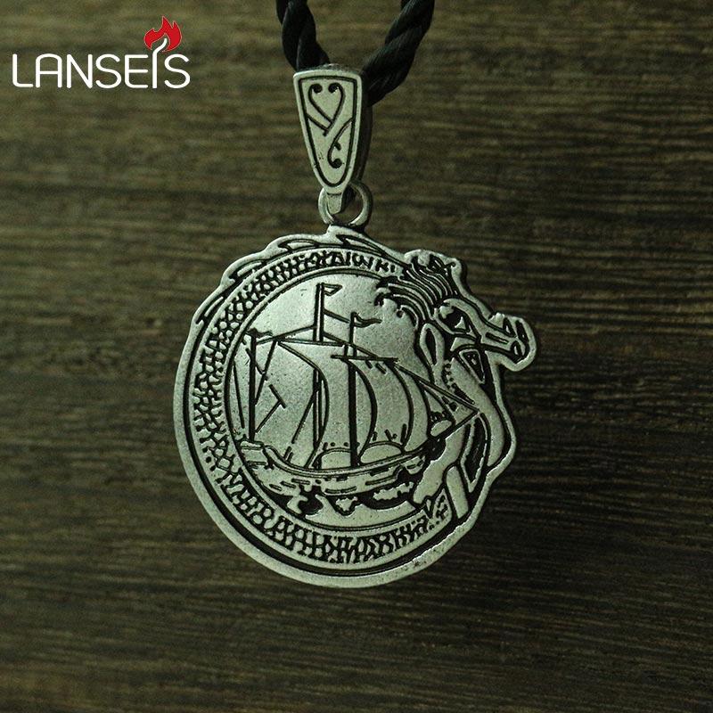 lanseis 10pcs Viking Ship necklace Norse pendant - Long boat - Danish jewelry -Scandinavian -Danes - Viking pendant -Asgard