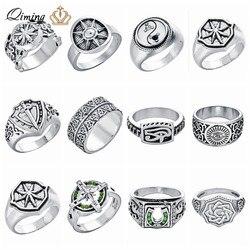 Eslavo amuleto masculino anel tamanho 9 yin yang escudo cruz espada cristã mau olho prata punk jóias feminino rock viking anéis homem