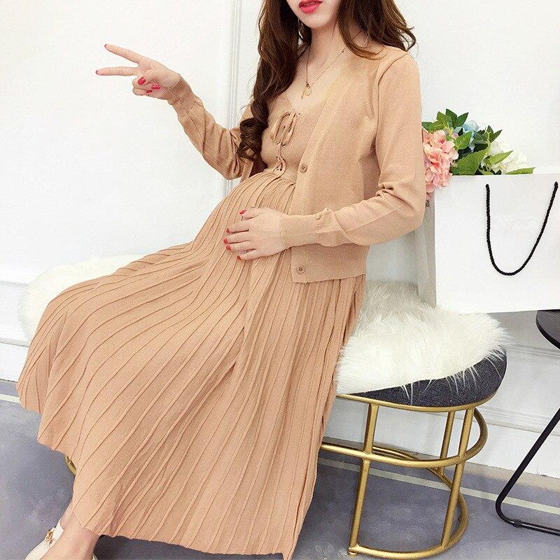 2 uds. Jersey de punto vestidos de maternidad vestidos de manga larga ropa para mujeres embarazadas Casual vestidos de embarazo ropa más Si