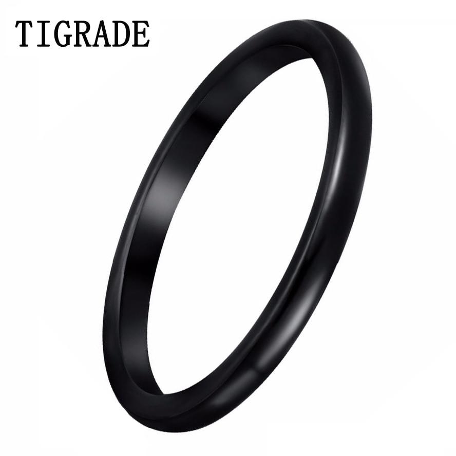 Tigrade 2mm de alto pulido anillos de cerámica para mujeres con cúpula negra fina boda banda compromiso joyería bijoux amigo regalo al por mayor
