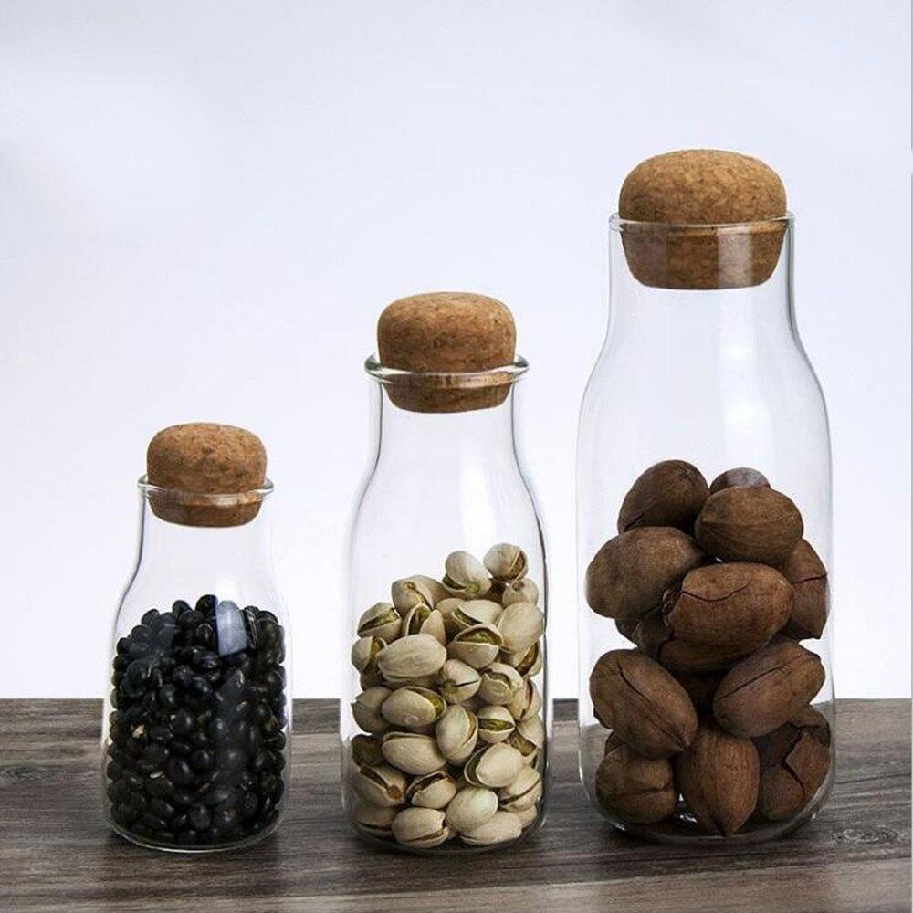 Герметичные стеклянные бутылки для хранения 3 размера банки оптовых продуктов