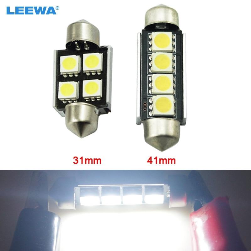 LEEWA 200pcs White 31mm 41mm No Error Canbus 4-LED 5050SMD Car Festoon Dome LED Light Reading Light #CA2625