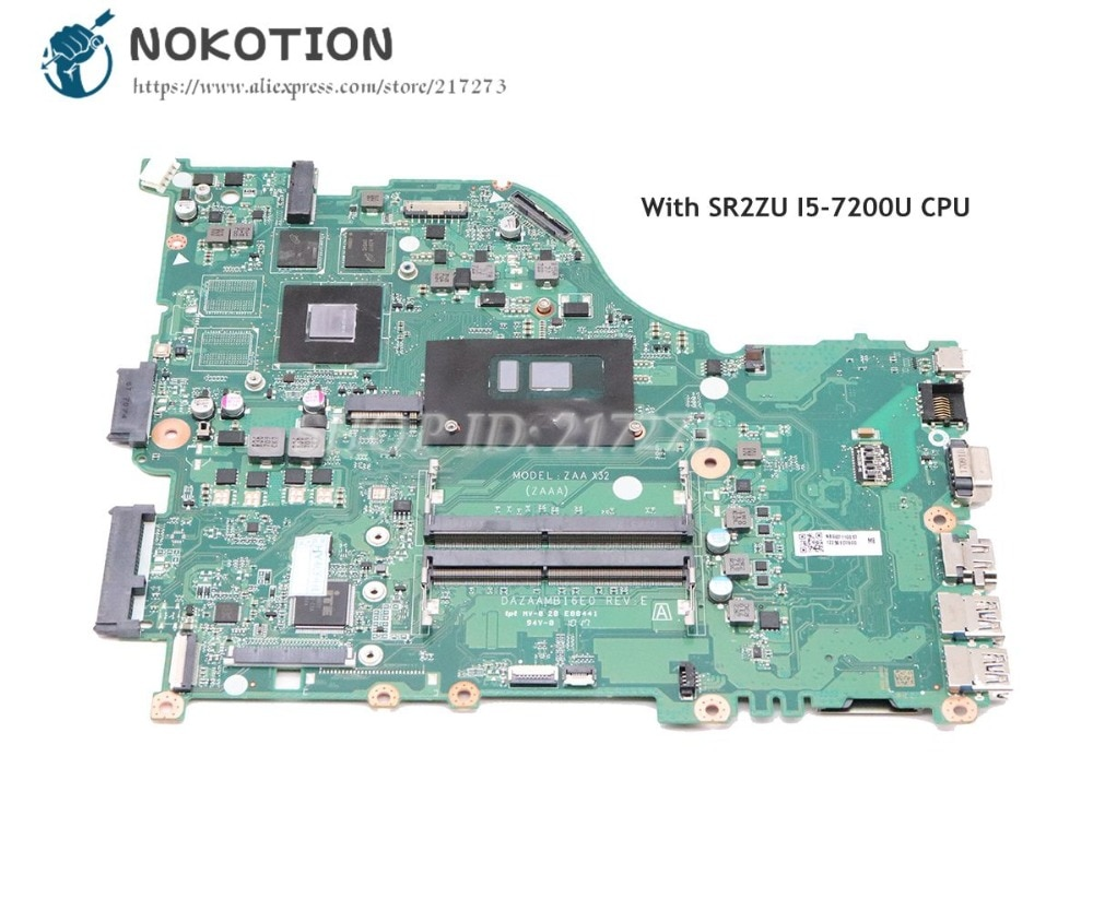 NOKOTION NBGG711005 NBGD611005 لشركة أيسر أسباير E5-575 E5-575G اللوحة المحمول DAZAAMB16E0 SR2ZU I5-7200U CPU 940MX الرسومات