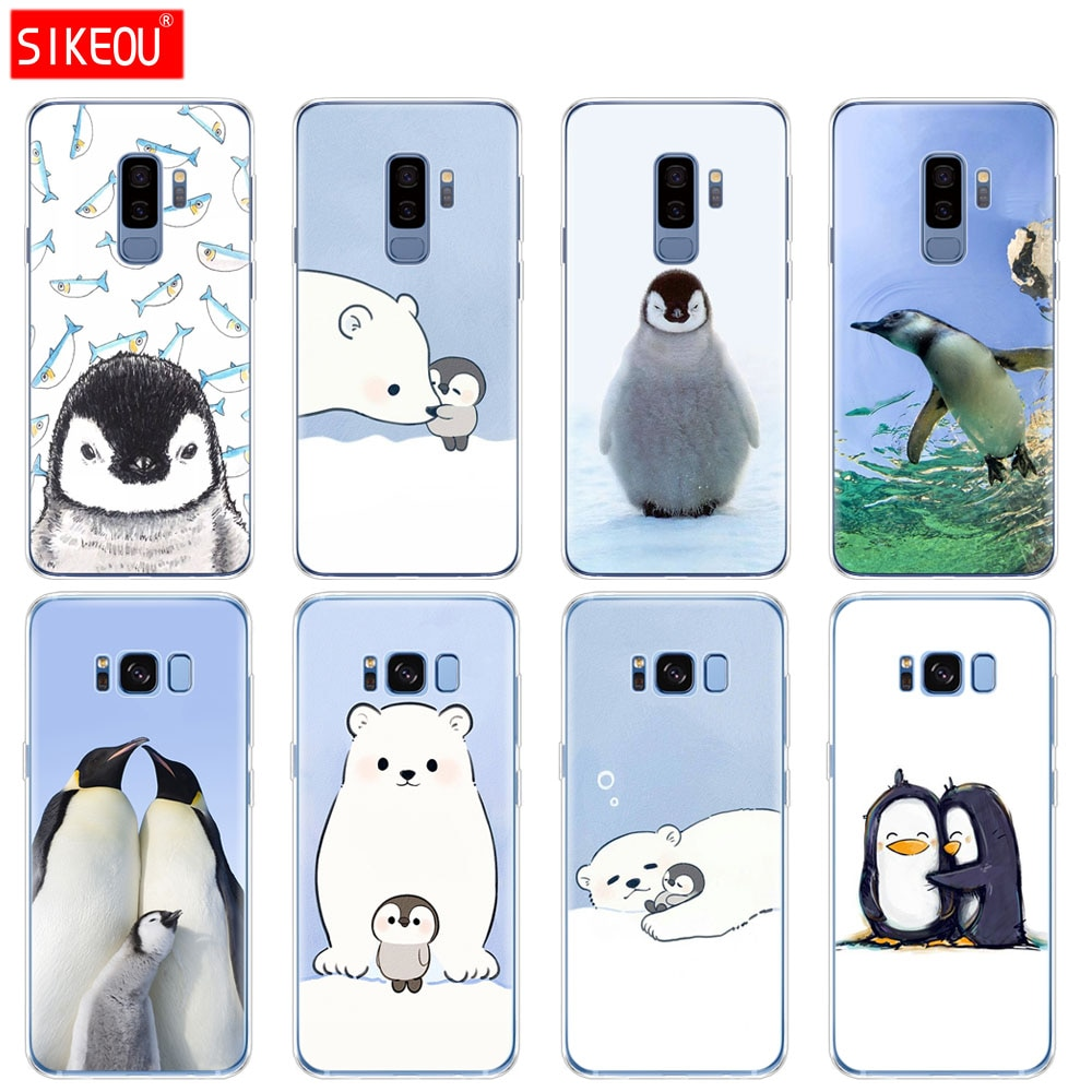 Capa de silicone para Samsung Galaxy S9 S8 S7 S6 borda S5 S4 S3 MAIS tampa do telefone Bonito do Pinguim Urso Polar