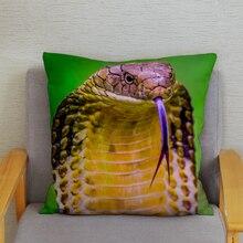 Funda de almohada de naturaleza Cobra serpiente víbora funda de cojín de felpa corta supersuave 45*45cm funda de almohada decorativa para el hogar Fundas de almohadas