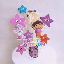 Dora The Explorer Cake Topper Dora Party Decorations Disposable Tableware Set Kids Birthday Party Ba