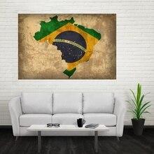 Pays drapeau carte du brésil Art affiche toile peinture affiche Art mur photo 50x75cm