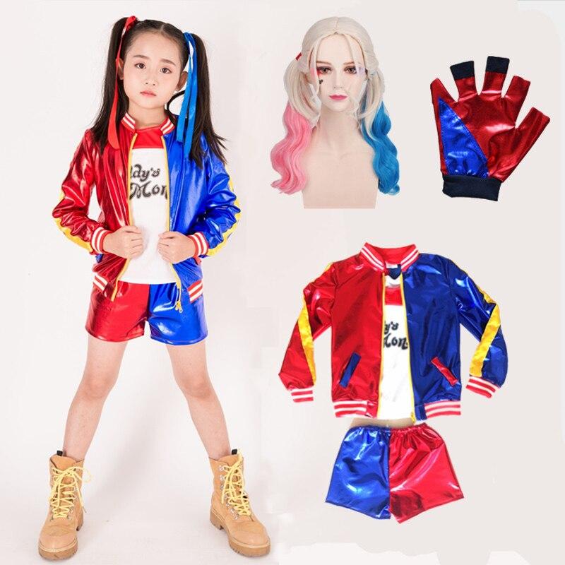 Nuevos trajes Harley Quinn De 2020 Para niñas, abrigos De Purim, chaqueta De Mujer, Chamarras De Batman, Cosplay Para Mujer, traje con guantes y pelucas