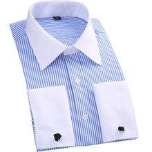 Striped Evening dress Men French Cufflinks Casual Dress Shirts Long Sleeved White Collar Design Style Wedding Tuxedo Shirt M-6XL