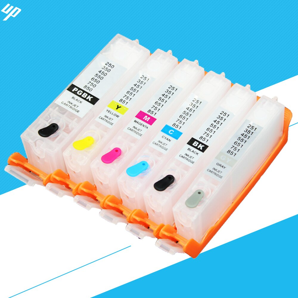 5sets Pgi 550 Pgbk Cli 551bk C M Y Gy For Canon Mg6350 Mg7150 Mg7550 Ip8750 Refillable Ink Cartridge With Arc Chip Pgi550 Ink Cartridge Refillable Ink Cartridgesrefillable Cartridges Aliexpress