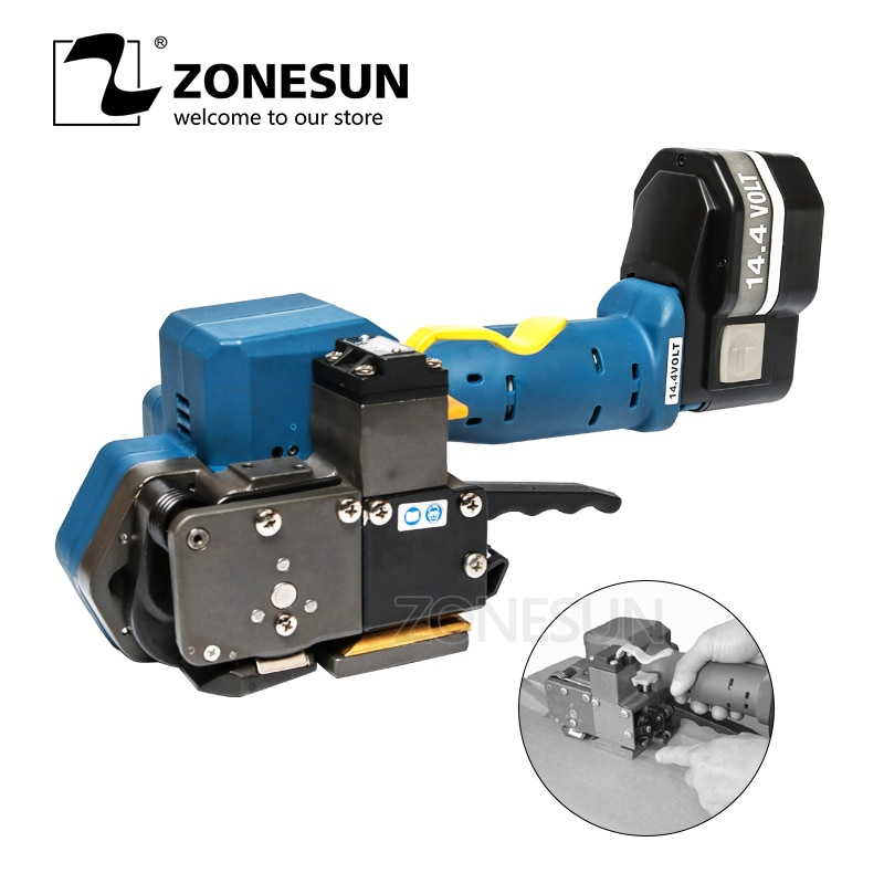 ZONESUN  P323 Portable Electric Strapping Tool Battery Powered Plastic Friction Welding Hand Strapping Tools for 16-19MM Strap