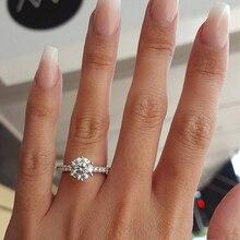 KISS WIFE anillo de compromiso clásico 6 garras diseño AAA circonita cúbica blanca mujer boda banda CZ anillos joyería