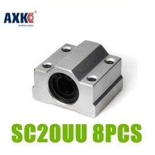 2018 Promotion nouveau Aluminium Rolamentos Axk Sc20uu Scs20uu 20mm linéaire roulement à billes bloc Xyz Table Cnc routeur pièces 8 pièces