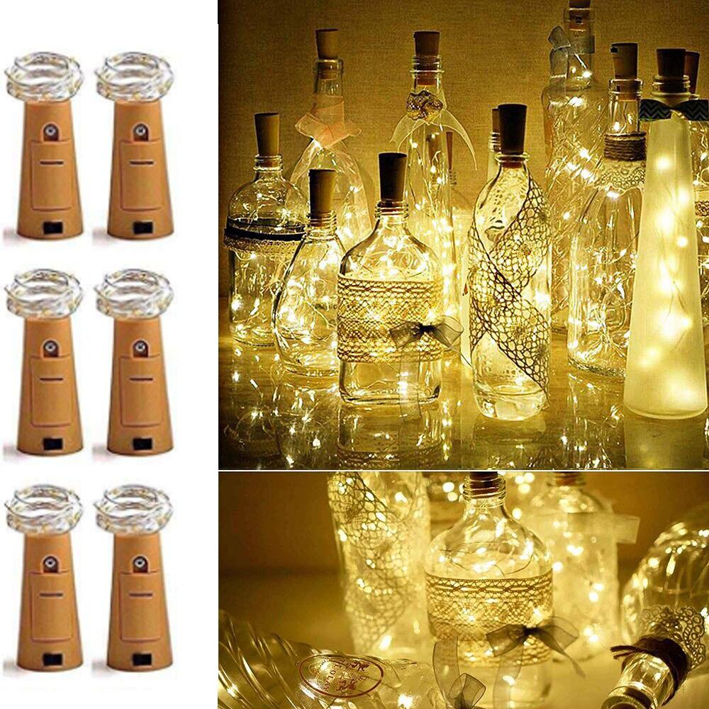6 piunids/lote botella de vino Luz de corcho con pilas 10 20 LED Hada Garland Navidad Cadena de luz para Halloween boda decoración
