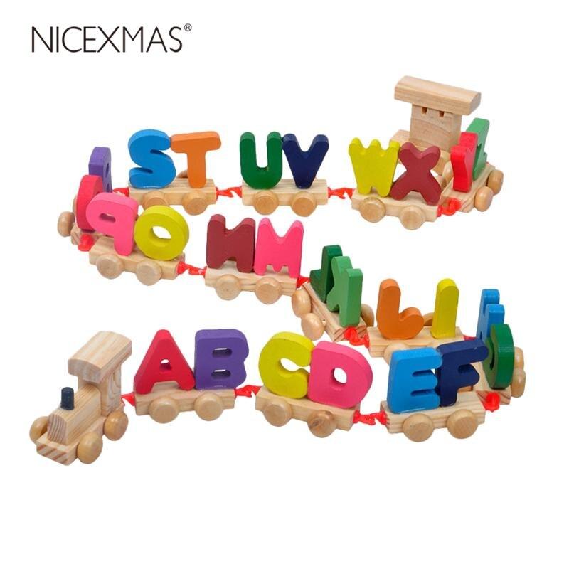 Um conjunto de mini magnético colorido alfabeto de madeira educacional trem brinquedos letra trem para meninos e meninas crianças criança