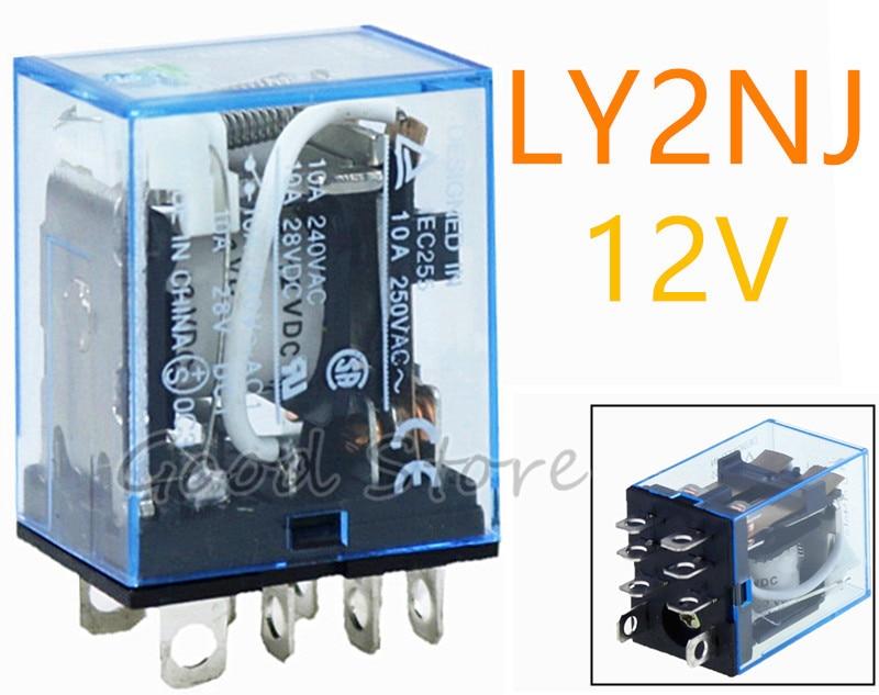 Relé de uso general LY2NJ 1 Uds 10A con lámpara LED 8 pines dpdt relais 12v AC DC